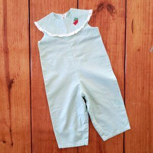 VTG Toddler Romper Green Girls Overall Jumpsuit 3T